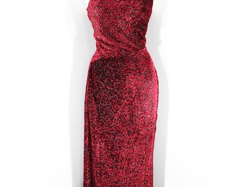 1990s Dark Red Evening Gown by Escada.  One shoulder, devore velvet, fitted. Size Medium or 40.