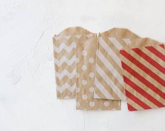 Patterned Brown Kraft Small Bags - 20 pc - Chevron / Polka Dot / White Diagonal Stripe / Red Diagonal Stripe