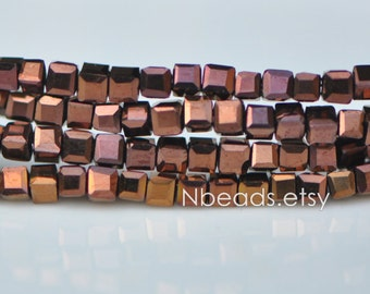 200 beads- Faceted Glass Cube, 2mm Tiny Faceted Crystal beads, Metallic Antique Copper- (#FZ02-05)