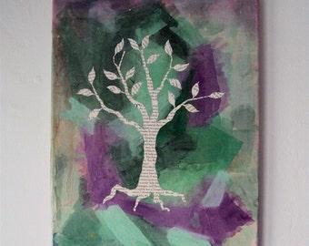 Bohemian Newspaper Tree - 11 x 14 Original Mixed Media Painting - Soothing Boho Wall Decor - Surreal Tree Wall Art - Modern Eco-Chic Decor