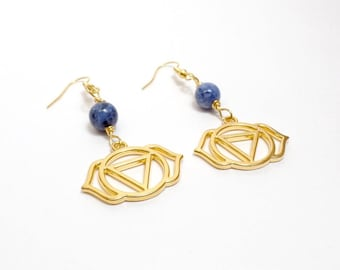 Third Eye Chakra Earrings - Lapis Earrings - Gemstone Earrings - Gold Chakra - Free US Shipping