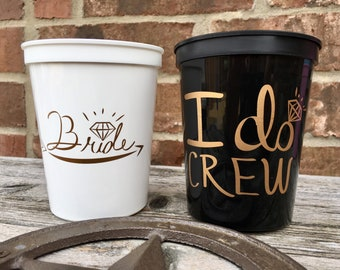 I Do Crew Cups   Bachelorette Party Cups 16 0z   Bridal Party Stadium Cups   BLACK I Do Crew Cup ON SALE!!!