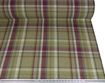 Tartan Check Wool Look and Feel Purple Green Red Upholstery Fabric Material Sold By The Metre