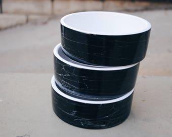 Black Marble Ceramic Dog Food and Water Bowl