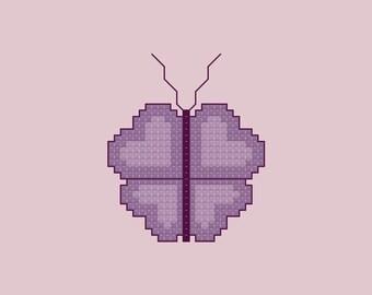 Heart Butterfly Cross Stitch Pattern PDF Digital Download