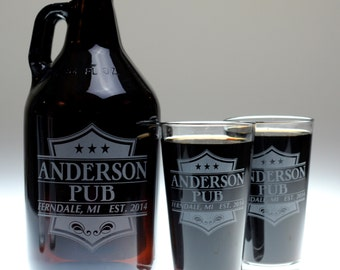 Patriotic themed custom beer gift of growler and glass set,homebrew,home brew,fathers day gift,uncle,christmas,holiday,fathers day, beer,