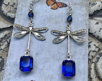 Blue vintage crystal dragonfly earrings, Blue dragonfly earrings, dragonfly earrings, dragonfly jewelry, vintage crystal