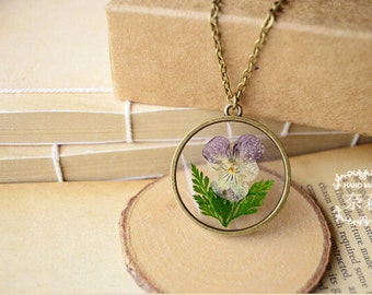 """Handmade Retro Bronze Pendant Necklace with 27"""" Long Bronze Chain,Real Pansy Dried Flower Pendant,Botanical Jewelr"""