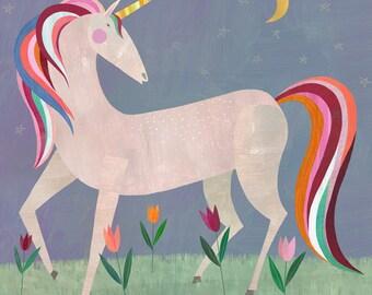 Fairytale Unicorn, Canvas Art Print for Girl's Room or Nursery