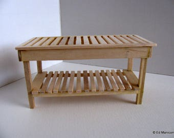 Miniature Long Garden Potting Table / 1:12 Scale Doll House Garden Furniture / Handmade with Unfinished Birch