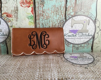 Monogrammed Scalloped Faux Leather Wallet Camel Monogrammed Scalloped Wallet Mint Monogrammed Scalloped Wallet Tote