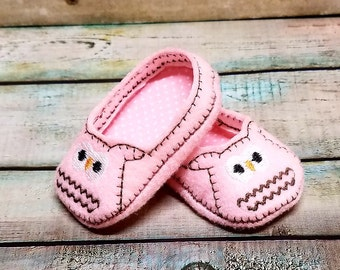 Owl Doll Shoes, 18 Inch Doll Shoes, Felt Shoes, Baby Doll Clothes, Shoes For Dolls, Dress Up, American Girl, Pretend Play, Slip On Shoes