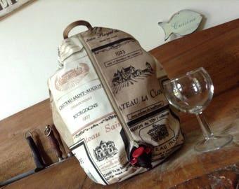 Wine bag, sac porte cubi, bag in box, pour vin, Rhum, jus de fruit en coton