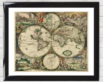 Framed world map etsy framed vintage world map from 1689 by van schagen ancient painting high resolution poster home decor gumiabroncs Choice Image