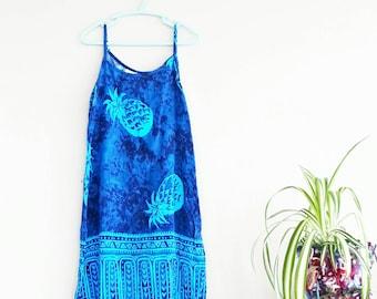 Vintage Dress- Pineapple Dress- Girl's Clothing- Blue Dress- Smock Dress- Aztec Tribal- Summer dress- Vintage for Children- Girls dress