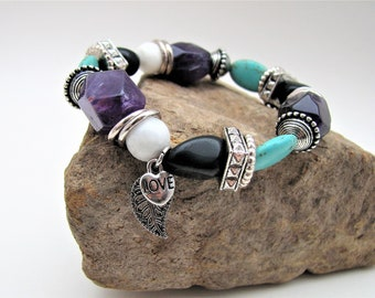 Purple Amethyst, Black Obsidian, Teal Magnesite, White New Jade, Silver Accent Heart and Leaf Charm Chunky Beaded Gemstone Stretch Bracelet