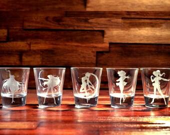 Sailor Moon Shot Glass Set of 5 (FIVE)