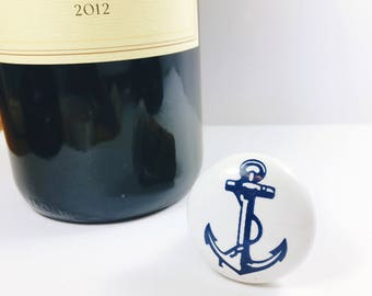 Anchor Wine Gift, Anchor Wine Stopper, Blue Nautical Gift, Anchor Cork Bottle Stopper, Cork Bottle Stopper, Wine Gift For Him, Nautical Gift