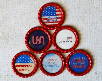 Patriotic Bottlecap Magnets- American Flag, USA, Patriotic Decor- Support Military- Proud to be an American- Gift for Him- Kitchen Magnets