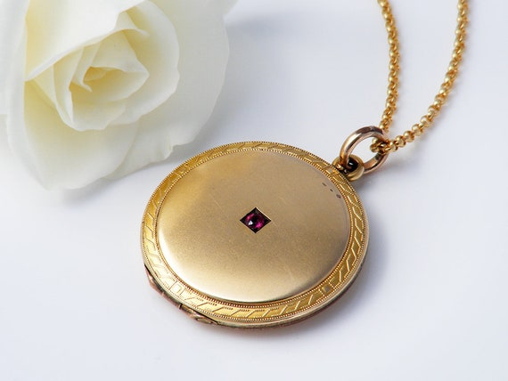Satin Gold Antique Locket Necklace with Pink Gemstone, Round Gold Locket, Edwardian Gold Locket - 24 Inch Chain