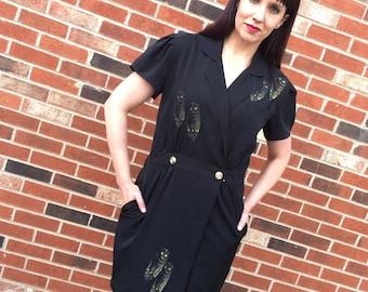 90s black dress with owls