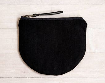 black linen/cotton pouch