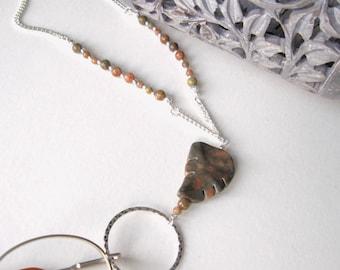 Marble Glasses Lanyard, Jasper Glasses Holder, Eyeglass Lanyard, Beaded Lanyard, Leaf Glasses Necklace, Glasses Chain, Glasses Necklace