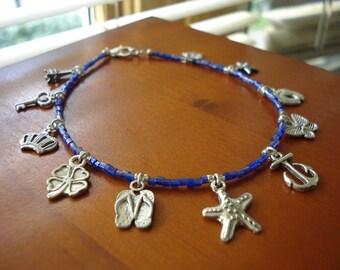 Silver Charm Anklet, Charm Anklet, Blue Beaded Anklet, Beach Jewelry, Summer Jewelry, Charm Jewelry, Seed Beaded Anklet