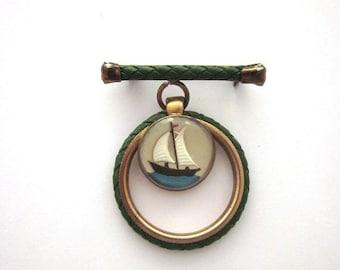 SALE Vintage Nautical Brooch Leather Glass Enamel Cabochon Boating Brooch