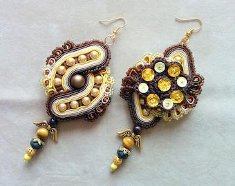 Coffee & Honey - Soutache Earrings