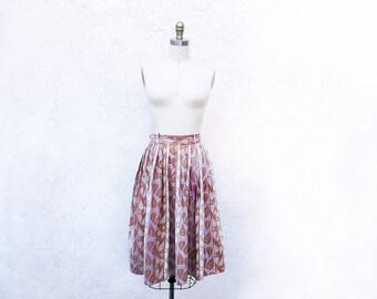 1950 Cotton Skirt, 50s Leaf Print, Mid Century Fashion