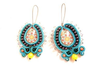 chandelier dangle long drop earrings , hoop with blue lavender yellow , azulejos statement handmade soutache bead embroidered earrings