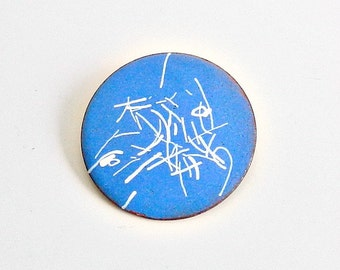 Vintage Blue & White Brooch, Enameled Copper Pin, Mid Century Abstract Brooch, Sky Blue Enamel Pin.