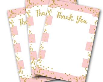 Printable 4x6 Thank You Notes, Pink and Gold, Thank You Cards, Flat Note Cards, Pink and Gold, Party Decor, Thank You,  SKU: AB01
