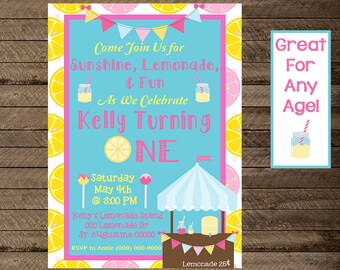 Lemonade invite, lemonade invitation, sunshine invite, lemonade birthday invite, lemonade stand birthday party, girl's lemonade stand invite