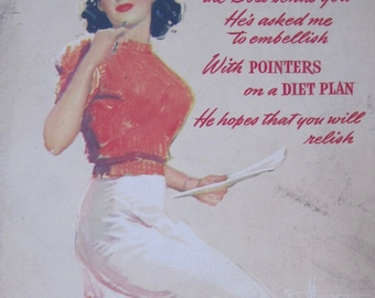 Vintage 1944 Pin Up Greeting Card - Bosler Supply Co, Chicago, IL By Brown and Bigelow - Free Shipping