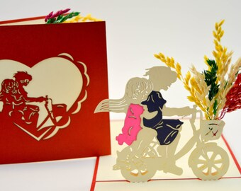 Anniversary Card - Love Card - Good Greeting Card - I Love You Card - Valentines Day Card - Bicycle of Love Card - Bicycle Love