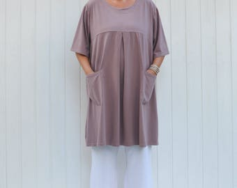 Womens Lagenlook Cotton Tunic Top, Plus Size, Made in Italy, Black, Blue, Gray, Pink, Purple Size 12 14 16 18 /20 22 24 26 28 30 9169