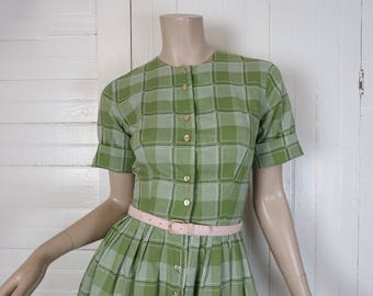 60s Spring Green Plaid Dress- 1960s Short Sleeve Cotton- Small- Lime / Avocado / Apple- School