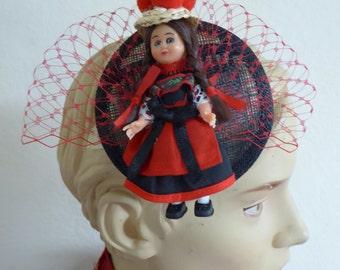 Black Forest doll * fascinator * black * Oktoberfest *