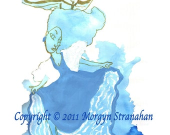 Blue curtsy - Mixed Media OOAK Drawing