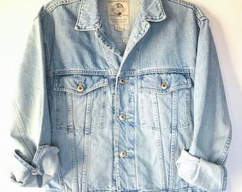 80s Vintage Denim Trucker Jacket, Retro Oversized Jean Jacket, Size XS, Size Small