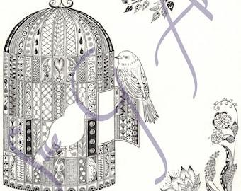 Free as a Bird Zentangle Art Print