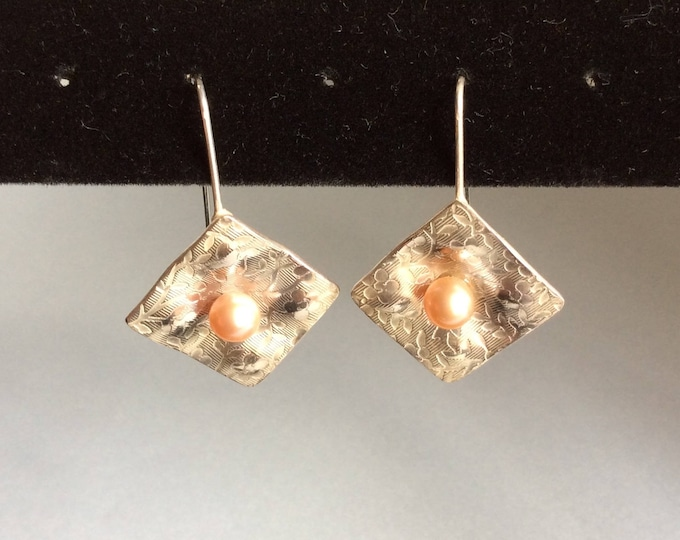 Sterling Silver and Natural Pink Pearl Earrings