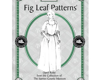 Fig Leaf Patterns 101 Gown c1771-1785,  sizes 08 to 18, updated 2017