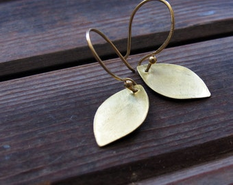 Petal Earrings - Hand forged delicate brass earrings - Minimalist Earrings - Nature Rustic Earrings - Brass Leaf Earrings