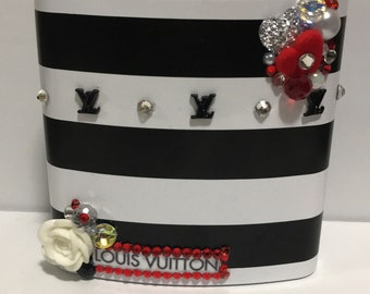 Ready to Ship! Louis Vuitton themed Custom Flask