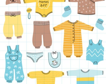 Baby boy clothes clipart - Hand drawn instant download PNG graphics  - 0012