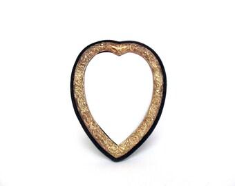 Vintage Silver Fancy Ornate Metallic Heart Frame, Blue Velvet Romance