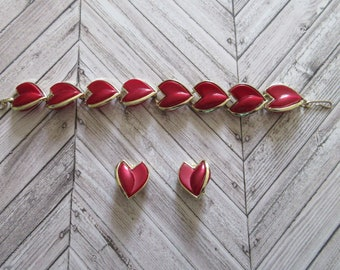 Vintage Red and Gold Trim Flower Petal Clip on Earrings and Bracelet Red Petals
